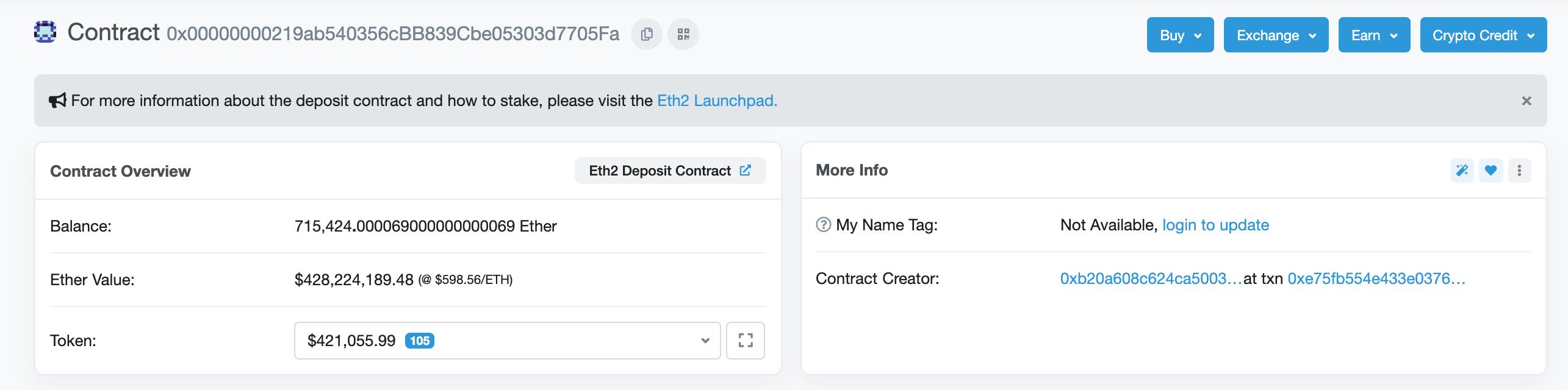 ETH 2.0 deposit smart contract address