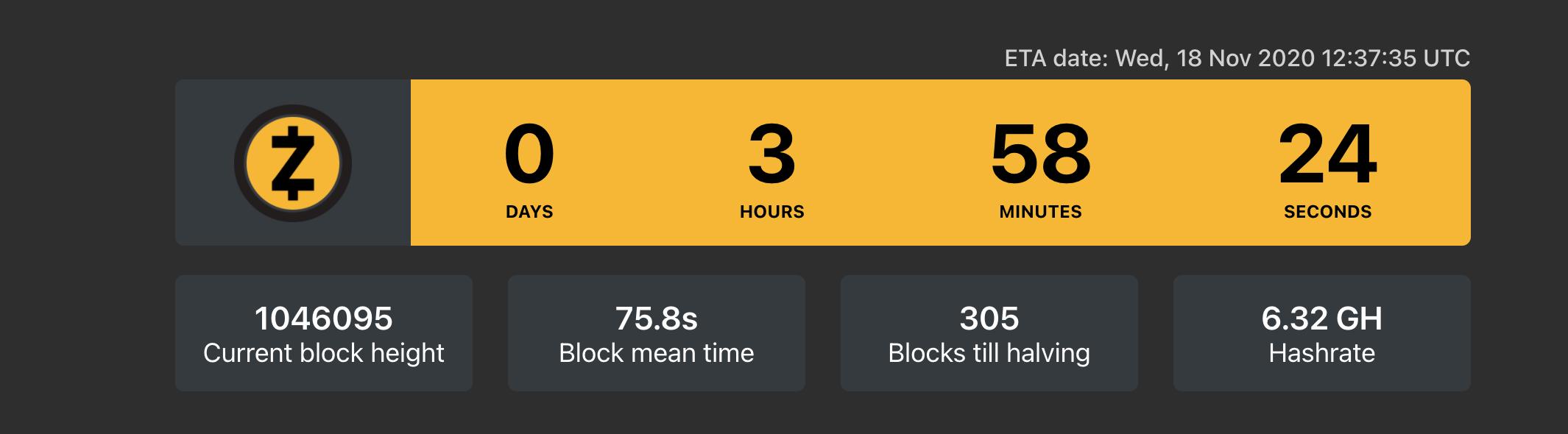 Zcash halving countdown